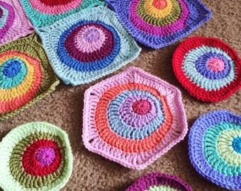 Crochet blanket Pattern tutorial/CypressTextiles/BabyLove Brand/Offset Circles Blanket/unique hexagon square circle motif popular modern fun