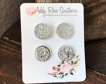 12mm druzy earrings in silver druzy studs,  silver druzy, druzy earrings, bridesmaid druzy earrings