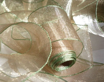 """5 Yards of Sand Organdy Ribbon Banded in Leaf Green (1.5"""")"""