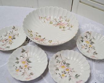 Vintage Fruit Berry Bowl Set Floral Pattern Worn Faded Dessert Serving Bowl R Germany PanchosPorch