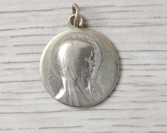 Vintage Virgin Mary medal, vintage Religious Medal, round medal, apparition in Lourdes
