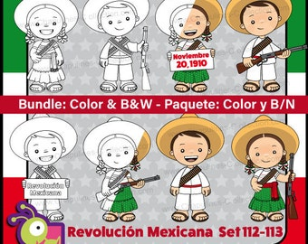 60% off Mexican Revolution Day Clipart Bundle, Color and Black/White, adelitas, Mexico clipart, Set 112-113