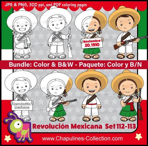 60% de desc. Combo Clipart Revolución Mexicana a color y en