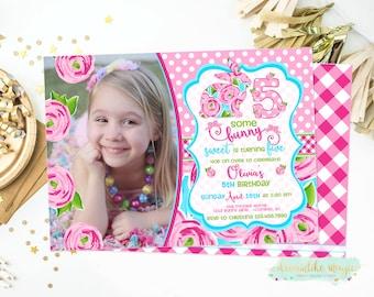 Bunny Birthday Invitation, Some Bunny Sweet, Spring Birthday Invitation, Floral Bunny Invite, Southern Bunny Invite, Girl Birthday, Spring