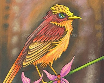 Beautiful Bird 7 - an 8 x 10 whimsical ART PRINT for bird and nature lovers of a sweet brown & yellow songbird sitting on a delicate branch