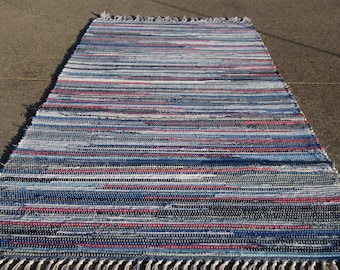 "Handcrafted Blues and Pinks rag rug 25"" x 57"" (M)"