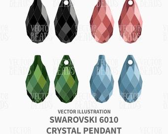 Vector Illustration of Swarovski 6010 Briolette Pendants - Digital Clipart
