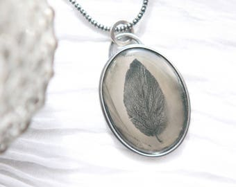 Silvery Image Pendant, Rare Wet Plate Collodion Image on Moss Agate Stone In Custom Made Sterling Silver Setting w/ Sterling Silver Chain