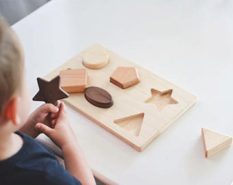 Wooden Shape Puzzle Wooden Toy Toddler Toy Baby Toy Wood Toy Educational Toy Waldorf Toy Wood Puzzle Toy Montessori Toy Educational Toy
