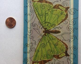 Laser cut wooden jigsaw puzzle - Green Butterfly