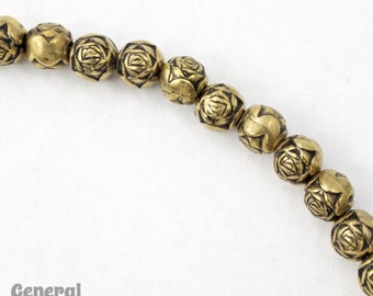 6mm Antique Gold Rose Bead #MPD015