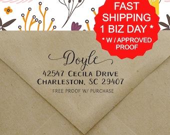 Calligraphy Return Address Stamp, Self-inking Return Address Stamp, Wedding Stamp, Calligraphy Address Stamp, Self-Ink Address Stamp (20437)