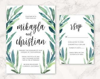 Printable Wedding Invitation - Eucalyptus Leaves - Greenery - Watercolor - DIY Printing