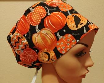 Women's Surgical Cap, Scrub Hat, Chemo Cap, Glow in the Dark Pumpkins