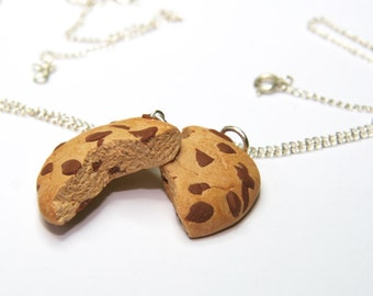 cookie friendship necklace kawaii chocolate chip gift for girl teenager best friends bff two part necklace mini food bag charms girlfriend