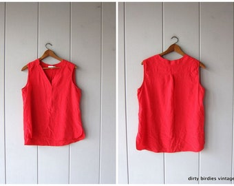 Modern Silk Tank Top Sleeveless Silk Blouse 90s Minimal Red Loose Fit Slouchy Top Silk Boho Chic Vintage Womens 16 Large