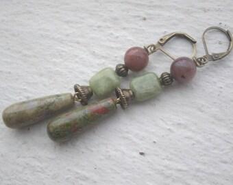 Earrings: drops long unakite - peridot and Indian agate