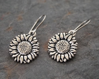 Sunflower Earrings, Silver Sunflower Earrings, Sunflower Gift, Gift for Mom