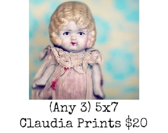 Any 3 Prints Adventures of Claudia Art Photo Prints Typography Porcelain Doll Photography Humor 5x7