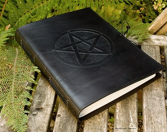 A4, Large, Leather Bound Journal, Pentagram, Pentacle, Black Leather, Leather Notebook, Blank Book, Wiccan, Book of Shadows, Personalized.