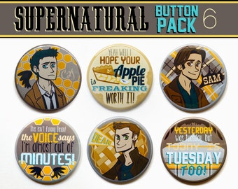 "Supernatural Buttons | Set of Six 2"" Supernatural Buttons 