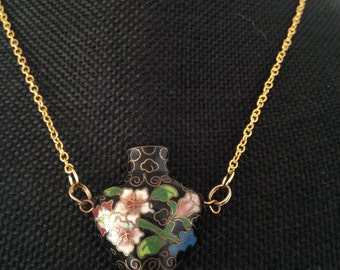 Long pendant necklace, cloisonne vase pendant necklace, cloisonne pendants,  cloisonné enamel pendant, cloisonné vase pendant necklace,  N93