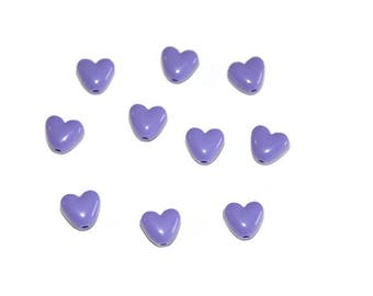 dark purple colored 10mm heart shaped 10 acrylic beads