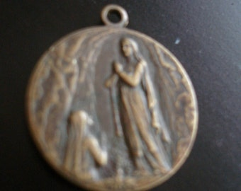 Antique french  religious medal Sanctus Pius X/Our Lady of Lourdes  antique french pendant