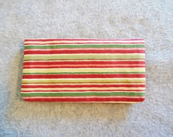 Fabric Checkbook Cover - Maroon and Green Stripes