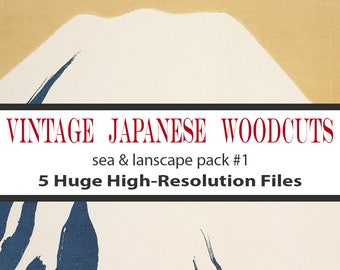 Japanese Woodblock Print Mountains, Digital Download, Commercial Use, Seascape Art, Woodcut, Vintage Woodblock Print, Vintage Illustrations