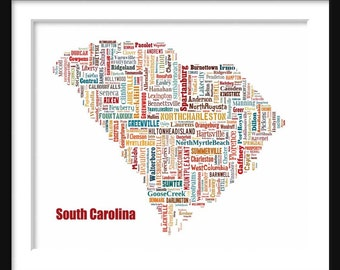 South Carolina Color State Map Couth Carolina City Cities Typography Grunge Map  Poster Print