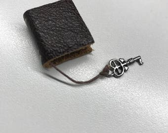 Brown Leather Book with Silver key - Dollhouse Miniatures (Item B44)