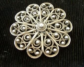 Vintage Sterling Silver Filigree Circle Pin 925 Outstanding Metalwork