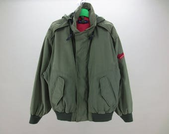 GANT Windbreaker Men Size L Vintage Gant Hooded Jacket Gant Vintage Army Bomber Jacket
