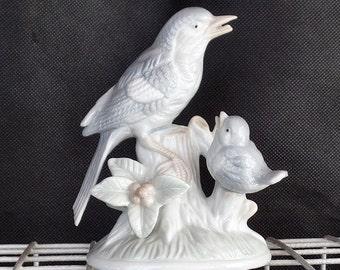 Otagiri Grey Blue Bird, Porcelain Bird Statue Figurine, Bird on a Tree, Two Singing Blue Birds