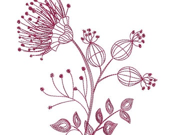 Floral Silhouette 2 Redwork - Machine Embroidery Design