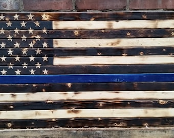 Rustic Thin Blue Line Wood Flag
