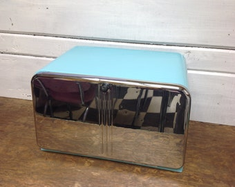 Lincoln Bread Box Aqua and Chrome