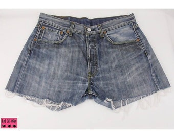 Levis 501 Shorts W32 Denim Blue Womens High Waisted Distressed Frayed