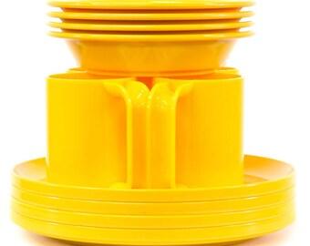 "Vintage ""Ingrid Ltd. Chicago"" Retro Yellow Melamine Dishes - FREE SHIPPING"