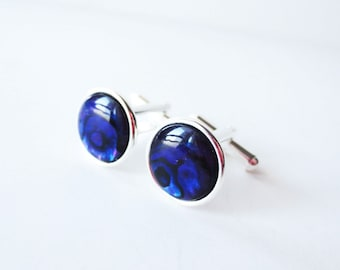Paua cuff links.  Purple cuff links.  Violet cuff links.  Purple paua shell.  Silver cuff links.  French cuff shirt.  For men.