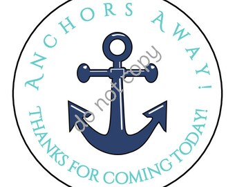 INSTANT DOWNLOAD Nautical Anchor 'Anchors Away' Thank You Stickers, Tags, Labels Printed DIY Teacher Gift Tags Printable File