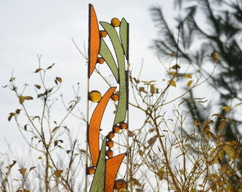 Stained Glass Garden Ornament, Yard Art, Garden Decor, Stained Glass Garden Art, Garden Stake with Autumn Colors.  'Woodlands'