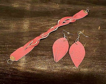 Hot Pink Leather Earring and Bracelet Set