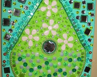 birdhouse beaded painting green mixed media wall art