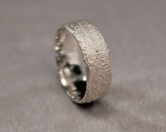 Silver Wedding Ring, Sand Cast Ring, Organic Wedding Band, Earth Ring, Mountain Ring.