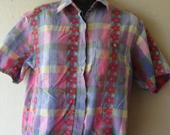 Hipster Grandma Blouse Vintage 1990s Shirt womens size medium