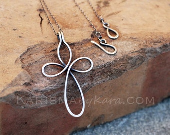Cross Necklace. Sterling Silver Wire. Oxidized. Celtic. Wire Jewelry.