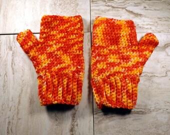 Merino Wool Fingerless Gloves, Red and Orange Texting Mitts, Wrist Warmers, Hand Painted Merino Wool