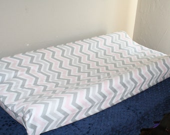 Light Pink and Gray Chevron Contour Changing Pad Cover